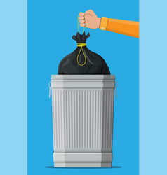 huge waste trash can isolated on blue vector image