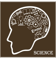 Human head and icons of science vector