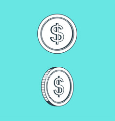 icon coin with images sign dollar on her vector image