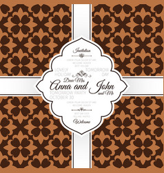 invitation card with brown french pattern vector image