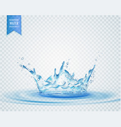 Isolated water splash effect on transparent vector