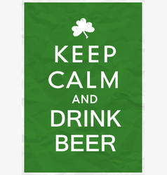 keep calm poster with st patricks day greetings vector image