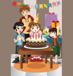 Kids celebrating birthday party vector