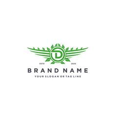 Letter d leaf wing logo design concept vector