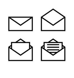 letter envelope symbols icons simple white set vector image