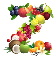 Letter Z composed of different fruits with leaves vector image