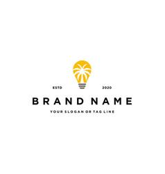 Light bulbs and palm logo design vector