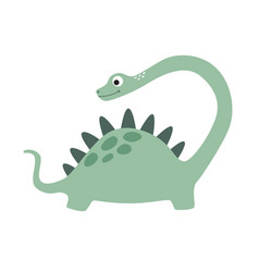 little cute cartoon green dinosaur vector image