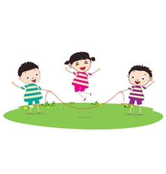 Little Kids skipping vector