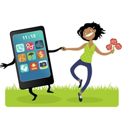 Married to a smartphone vector image