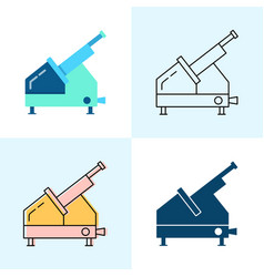 meat slicer icon set in flat and line styles vector image