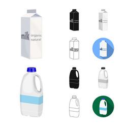 milk product cartoonblackflatmonochromeoutline vector image