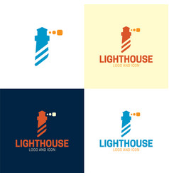 Minimal abstract lighthouse logo and icon vector