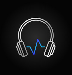 modern silver headphones with blue sound wave vector image