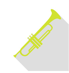musical instrument trumpet sign pear icon with vector image