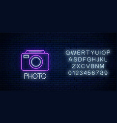 Neon sign photo camera symbol with text and vector