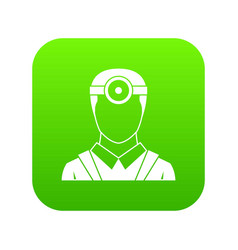 Ophthalmologist with head mirror icon digital vector