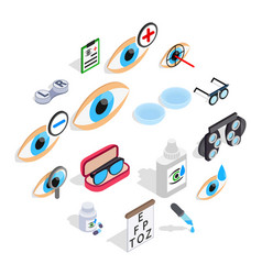 Optometry icons set isometric 3d style vector