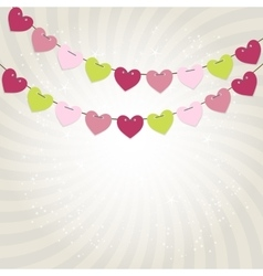 Party Background with Heart Shaped Flags vector image