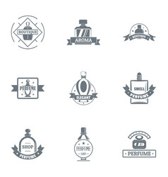 Perfum logo set simple style vector