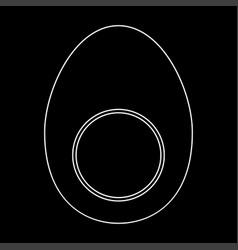 Piece egg white color path icon vector