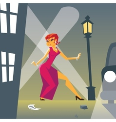 Pin-up Woman in Danger on Stylish Street vector