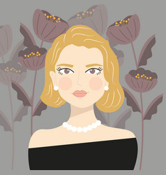 portrait an elegant blond girl with pearls vector image
