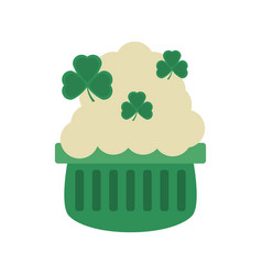 pot beer shamrock foam st patricks day vector image