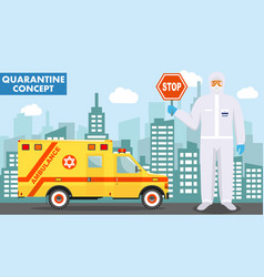 Quarantine and medical concept detailed vector