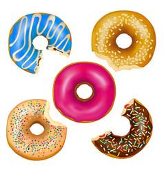 Realistic eaten donuts set vector