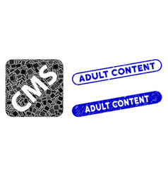 rectangle collage cms with grunge adult content vector image