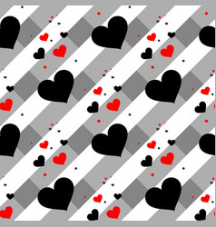 red and black heart seamless pattern colorful vector image
