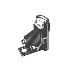 retro folding camera isolated photo studio symbol vector image