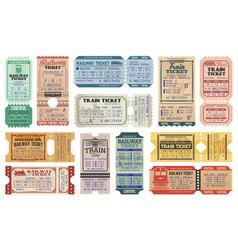 Retro railway train tickets us america travel vector