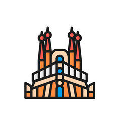 Sagrada familia spain landmark flat color vector