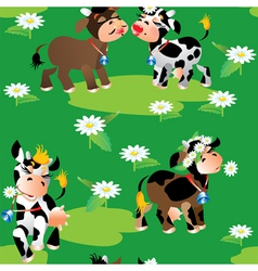 Seamless pattern with cute cartoon cows on green vector