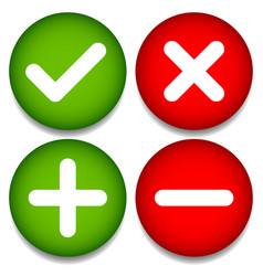 Set 4 icons with check mark cross and plus vector