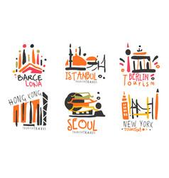 set contour logos for tourism vector image