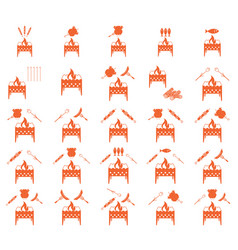 Set of coocing on brazier icons vector