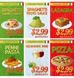 Set of Italian cuisine labels Cartoon vector