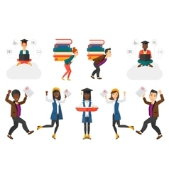 Set of student characters vector