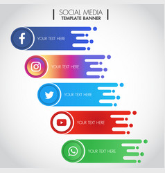 Set popular social media icons template banner vector