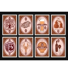 set postage stamps template with various vector image