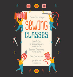 Sewing classes promo poster template with flat vector