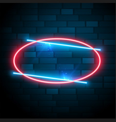 Shiny glowing oval neon frame with text effect vector