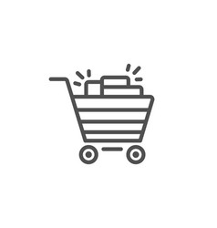 shopping cart line icon sale marketing symbol vector image