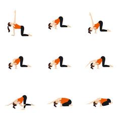 Shoulder stretch variations yoga asanas set vector