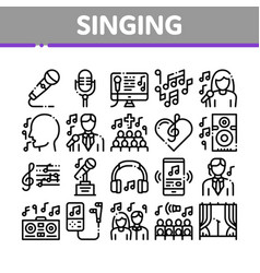 singing song collection elements icons set vector image