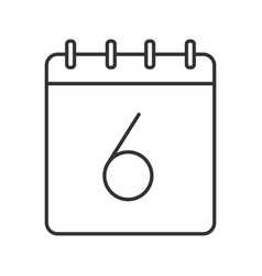 Sixth day month linear icon vector