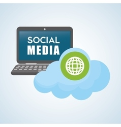 Social media design laptop icon networking vector image